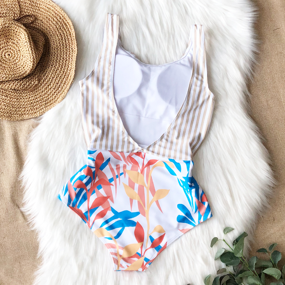 H913fc4ed462544cea0955984476d8560a - Striped Women One Piece Swimsuit High Quality Swimwear Printed Push Up Monokini Summer Bathing Suit Tropical Bodysuit Female