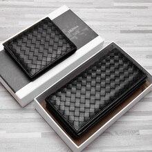 Premium Soft Sheepskin Genuine Leather Luxurious Handmade Knitting Men Wallets 2020 Newest 3 Sizes Series Bi fold Folio Purses