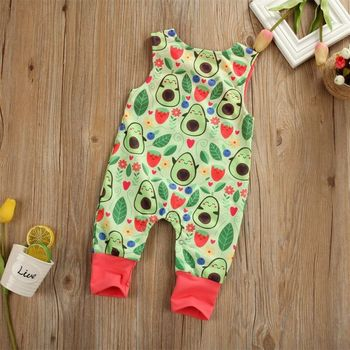 Emmababy Newborn Infant Boy Baby Girl Sleeveless Avocado Leaves Printed Lovely Romper Jumpsuit Clothes Sunsuit emmababy summer newborn baby girl clothes sleeveless striped bowknot strap romper jumpsuit one piece outfit sunsuit clothes