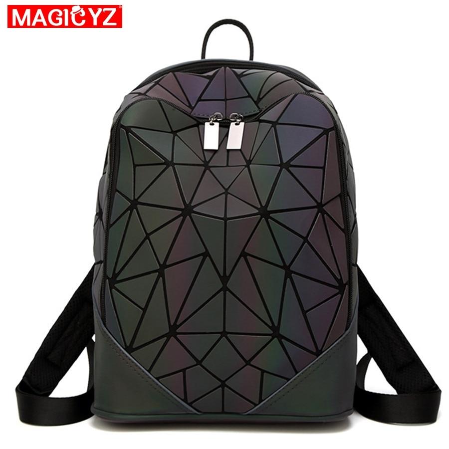 Image 2 - Women Backpack Luminous Geometric Plaid Female Backpacks For Teenage Girls Bagpack Bag Holographic Backpack School Mochila-in Backpacks from Luggage & Bags