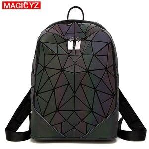 Image 2 - Women Backpack Luminous Geometric Plaid Female Backpacks For Teenage Girls Bagpack Bag Holographic Backpack School Mochila