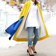 Womens Woolen Coats Turn-Down Collar Long Wool Blends Jacket Lapels Sleeves Elegant Outerwear