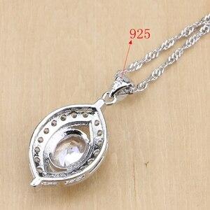 Image 4 - Natürliche 925 Sterling Silber Braut Schmuck Weiß Zirkon Schmuck Sets Für Frauen Hochzeit Ohrringe Anhänger Halskette Ringe Armband