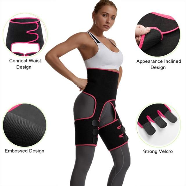 3 in 1 High Waist Slim Thigh Trimmer Sweat Trimmer Leg Shapers Push Up Waist Trainer Panties Fat Burning Neoprene Slimming Belt 4