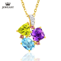 Natural Peridot/topaz/amethyst 18K Pure Gold Pendant Real AU 750 Solid Gold Trendy Classic Party Fine Jewelry Hot Sell New 2019