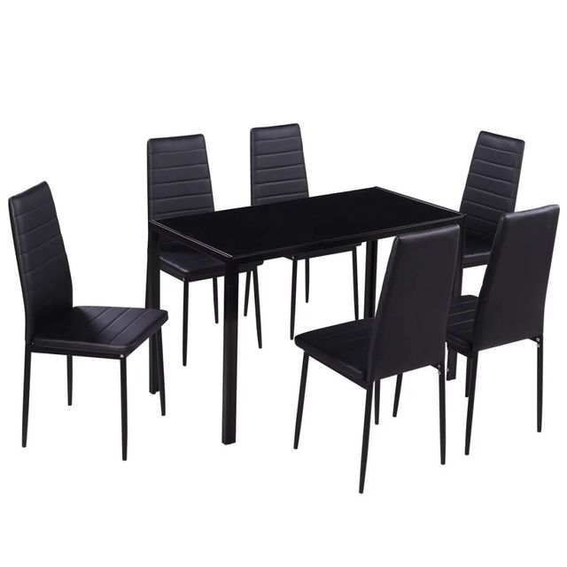 Seven Piece Dining Table and Chair Set Black 2