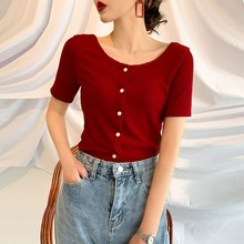 Summer Short Sleeve Knit Tshirt Women Round Collar Sweet Solid Color T-Shirt Casual Women Tops New Fashion Button T Shirt sweet round neck button down knit dress for women