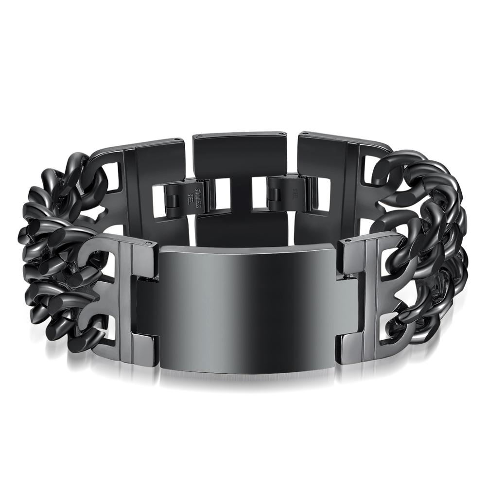 Men Punk Polished Bracelet Silver Gold black Titanium Steel Bracelets 316L Stainless Jewelry Charm Bangle Chain Wristband in Chain Link Bracelets from Jewelry Accessories