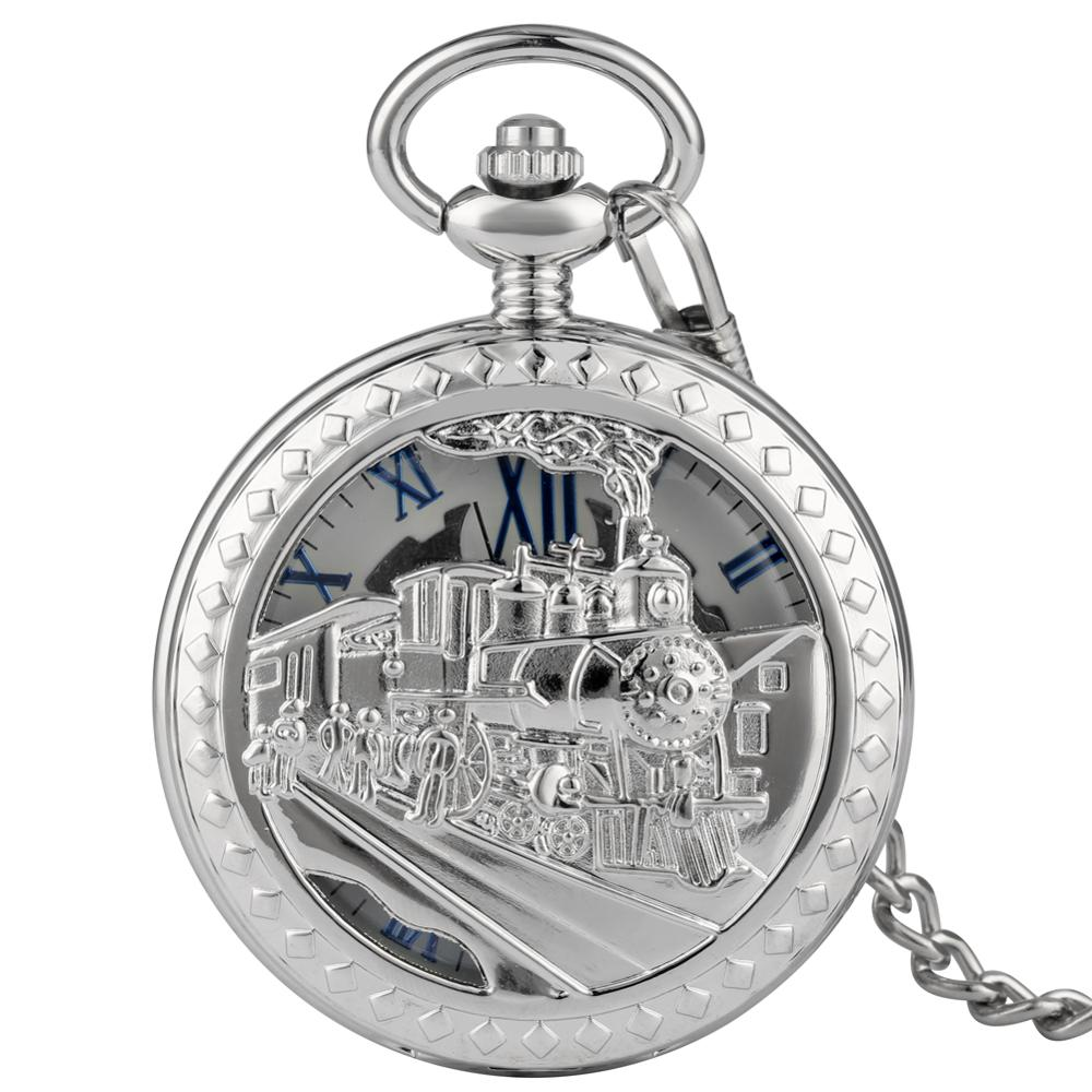 Unique Silver Steam Train Pattern Case Pocket Watch Delicate Pocket Watches For Male Durable Alloy Rough Chain Pendant Watch