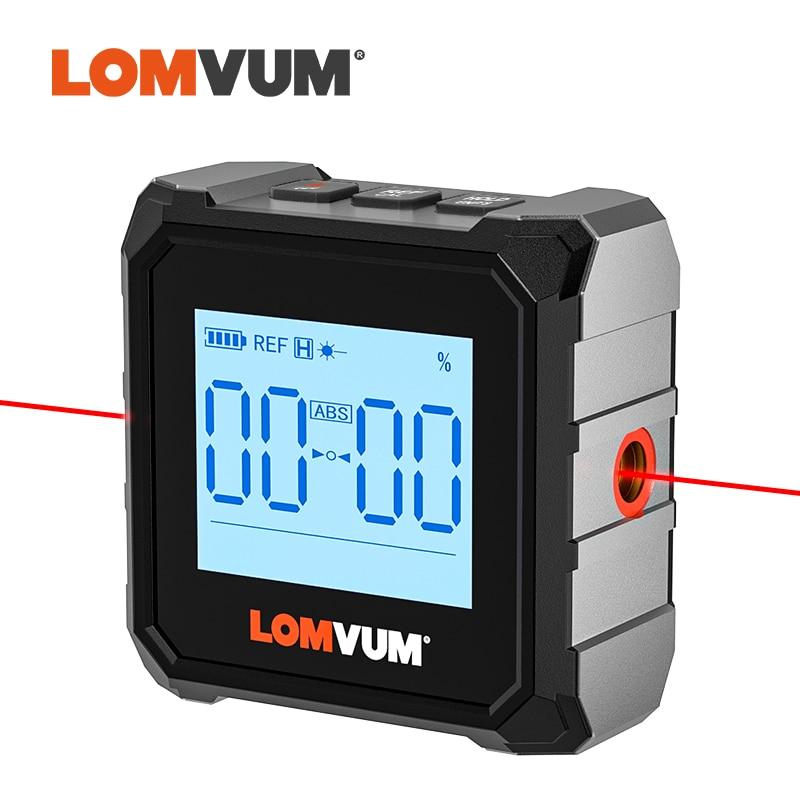 LOMVUM Professional Protractor Digital Inclinometer Angle Measure Box Laser Level Ruler USB Chargable Inclinometer Magnetic Base
