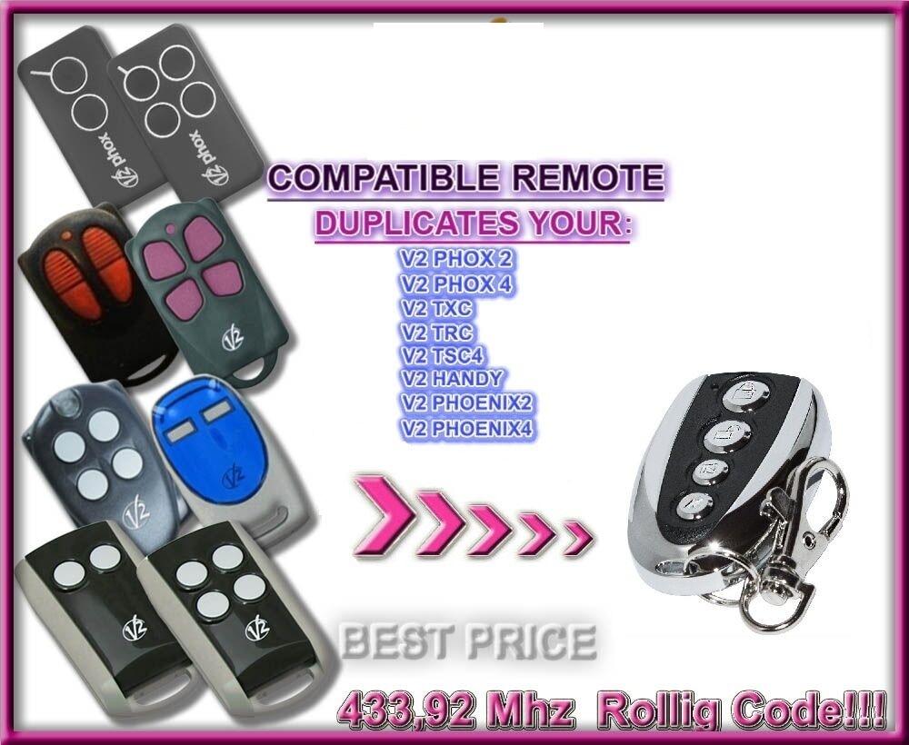 V2 PHOX 2,4, PHOENIX 2,4, TXC, TRC, TSC4, HANDY Remote Control Duplicator 433MHz rolling code