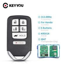 KEYYOU – clé de voiture intelligente pour Honda Odyssey, 2014 2015 2016 2017, 313.8Mhz, 6 5 + 1 boutons, ID47, puce FCCID KR5V1X FSK