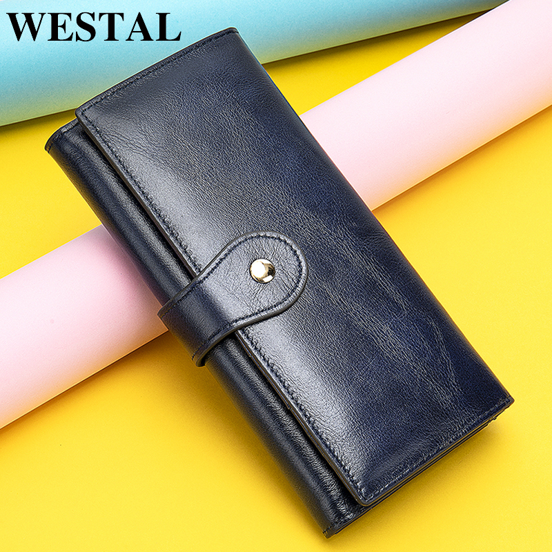 WESTAL women's wallet genuine leather female wallet purse luxury women wallets slim phone womens wallets and purses money bag
