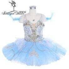 women light blue bird professional tutu platter pancake performance stage costume skirt BT9243