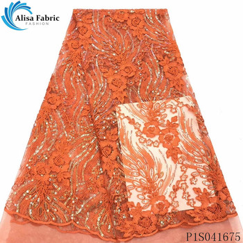 Alisa orange french net lace fabric 2020 high quality embroidery nigerian tulle fabrics african sequins laces for garment sewing