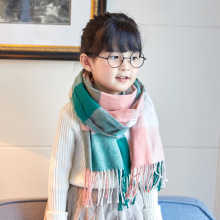 Autumn Winter Children Plaid Scarf  Kids Boy Girls Warm Imitation cashmere Tassel grid Scarves neckerchief kids