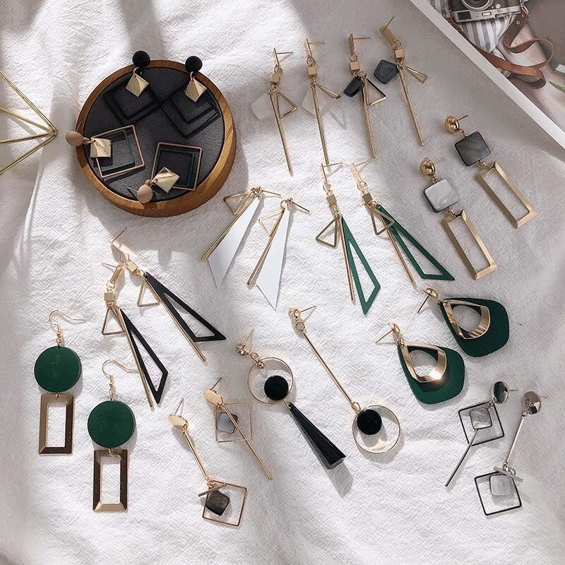 2019 New Korean Style  Women Geometric Dangling Statement Ear Jewelry Fashion Earrings Gift For Friend Drop Shipping