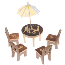 High Qaulity 1set Furniture Toy Children Gift Table Chair Miniature Craft Wooden Dollhouse Miniature Landscape Dining Room Decor(China)