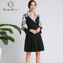 SEQINYY офисное женское платье Лето Весна модный дизайн женское винтажное комбинированное Плиссированное Черное мини-платье с принтом