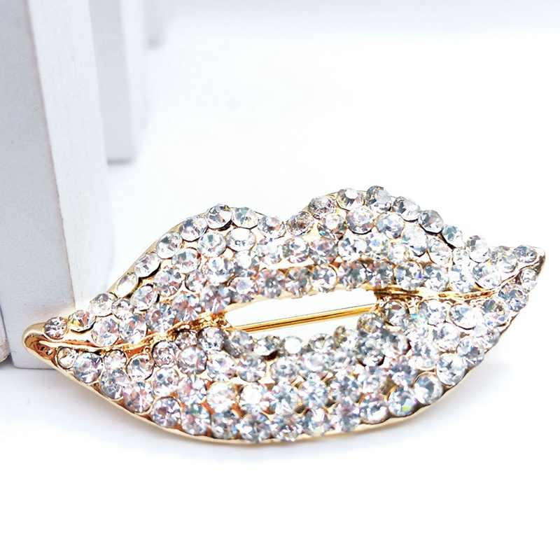 Korean Trendy Full Rhinestone Red Lips Brooch Lovely Jewelry High Grade Women's Brooches Shawl Buckle Pin Jewelry