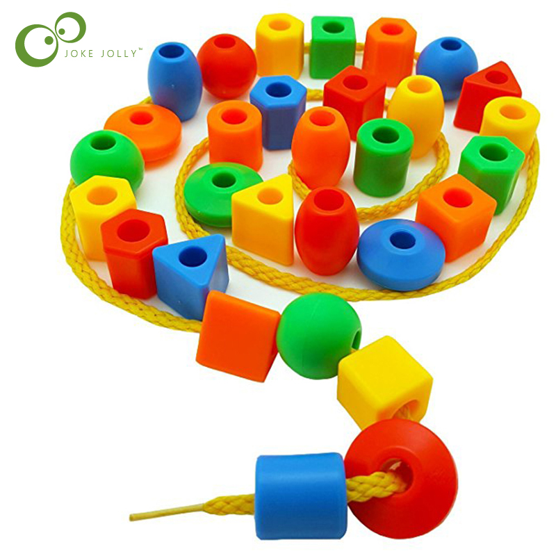 50pcs Beads Toys Geometric figurebeads Stringing Threading Beads Game Education Toy for Baby Kids Children Crafts Beads Toy ZXH