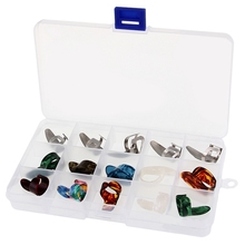 15Pcs/Set Celluloid Metal Finger Thumb Guitar Picks Plectrums 5 Thumb + 10 Finger with Case Cover for Acoustic Electric Bass Gui 4pcs set celluloid guitar fingertip 1 thumb and 3 finger nail guitar picks plectrums sheath for acoustic electric bass guitar