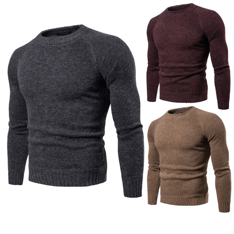 2019 autumn and winter new men's round neck sweater casual solid color long-sleeved men's knitted sweater M-2XL