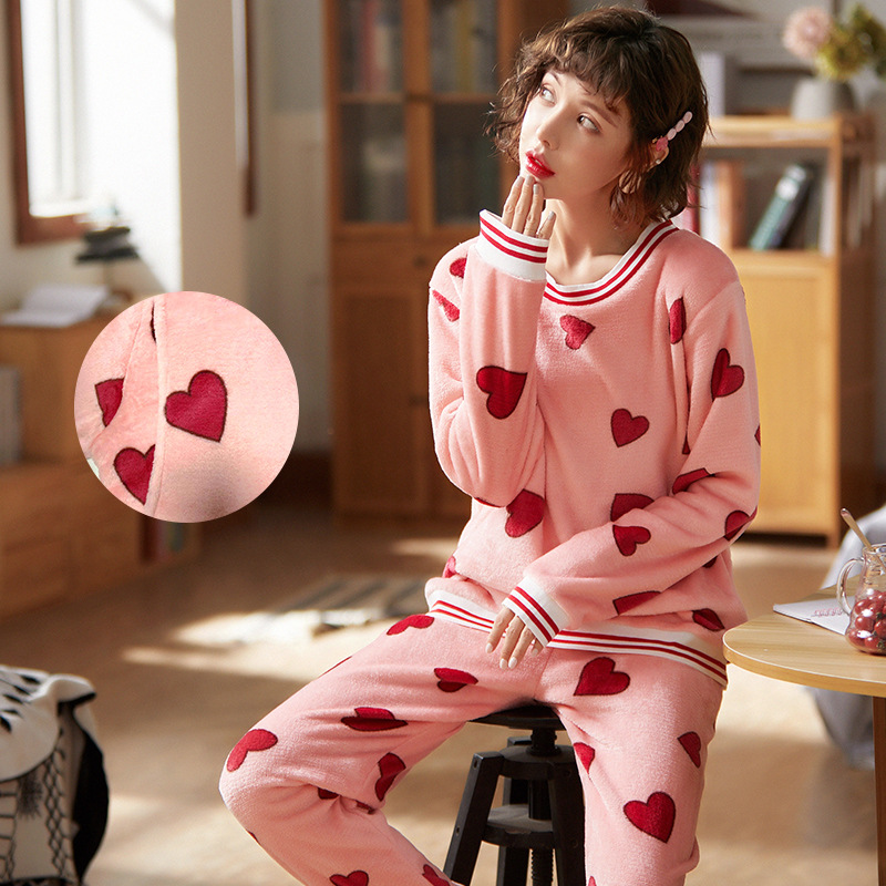 Pregnant Women Confinement Clothing Flannel Autumn & Winter Mink Cashmere Thick Japanese Korean Hoodie Tracksuit Pajamas Coral V