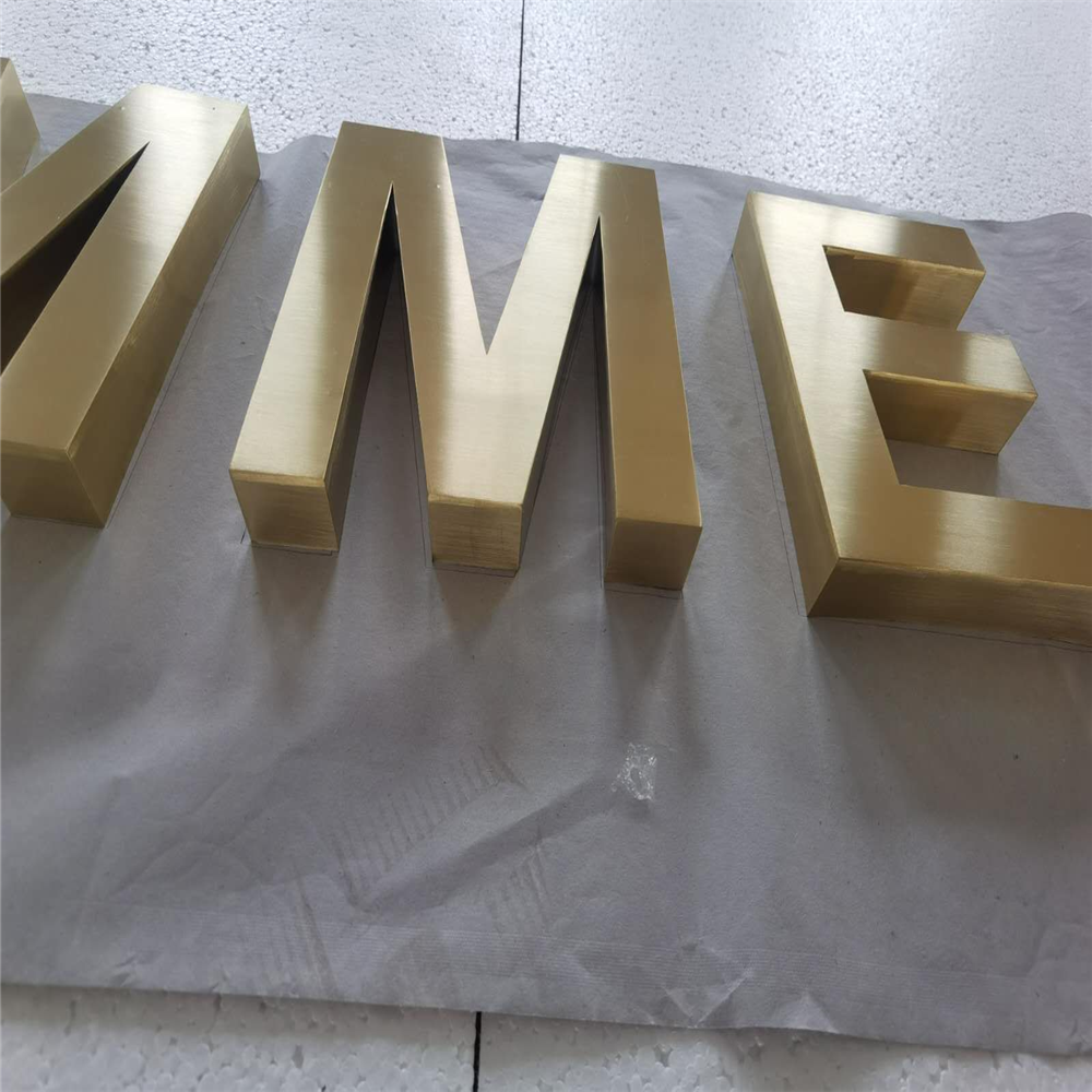 Factory Outlet Outdoor Plating Titanium Stainless Steel Letters,golden Color Metal Logo Signs