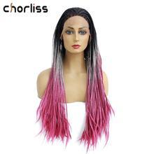 """Вязание крючком коробка косички волос 2"""" Длинные Синтетические Кружева передние парики для женщин термостойкие волокна волос Премиум Ombre розовый черный бордовый"""