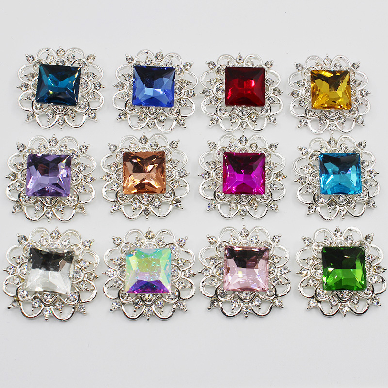 Square 10pc <font><b>30mm</b></font> Multicolored Glass Rhinestones <font><b>Buttons</b></font> For Clothes Sofa Craft Bud Diamond Sewing Accessories image