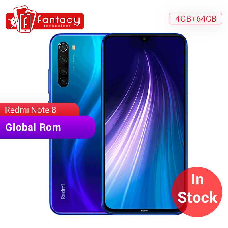 En stock ROM Global Xiaomi Redmi Note 8 4GB 64G 48MP Quad caméra Smartphone Snapdragon 665 Octa Core 6.3