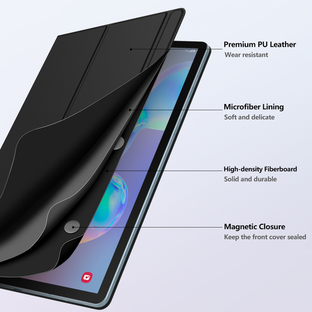 Smart Folio Case For Samsung Galaxy Tab S6 10.5 2019,Slim Lightweight Smart Shell Stand Cover,Strong Magnetic Adsorption for Tab 2