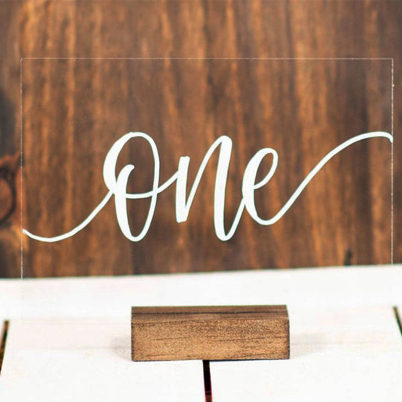 wedding : Acrylic Calligraphy Wedding Table Numbers With Wood Holder Set Personalized Number Sign Modern Wedding Table Number for Party