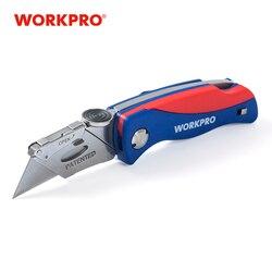 Cuchillo plegable WORKPRO, cortador de tubos, cortador de cables de electricista, herramienta de seguridad para Cuchillo de seguridad, cuchillo de mango de plástico con 5 cuchillas de PC