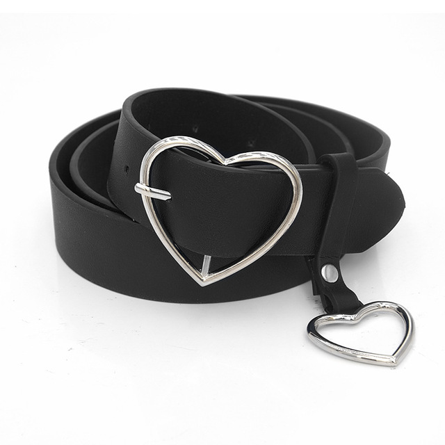 PKWYKLRE New sweetheart buckle with adjustable ladies luxury brand cute Heart-shaped thin belt high quality punk fashion belts 6