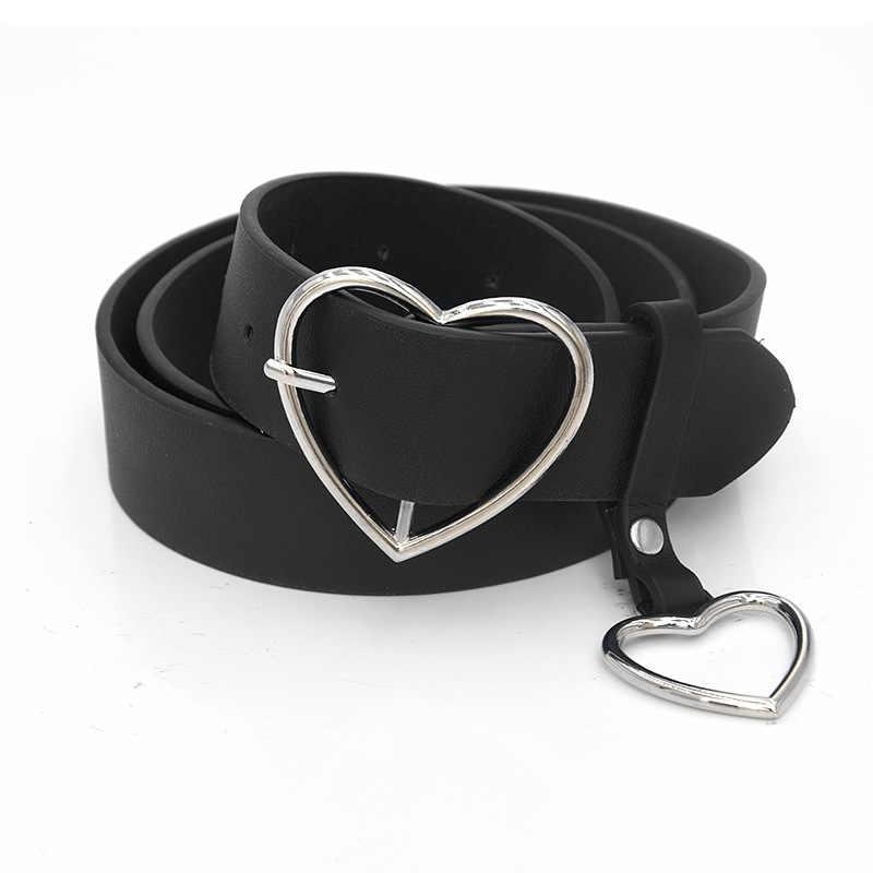 PKWYKLRE yeni sevgiliye toka ayarlanabilir bayanlar lüks marka sevimli kalp şeklinde ince kemer yüksek kalite punk moda kemerler