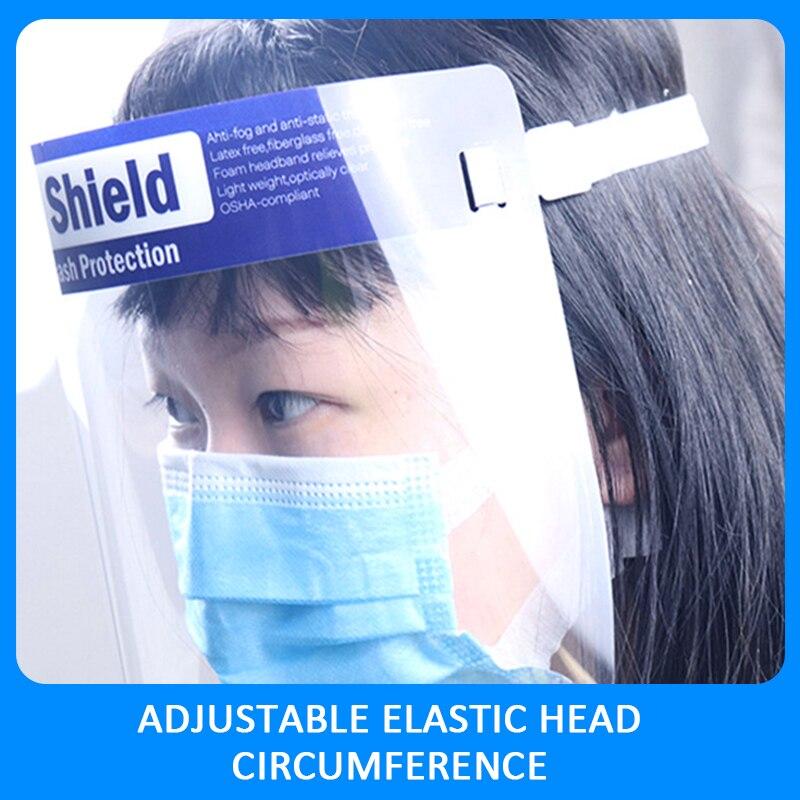 1PC Splash-proof Dust-proof Mask Head-mounted Transparent Mask Adjustable Reusable Elastic Face Mask Home Outdoor Fitness TSLM1 1