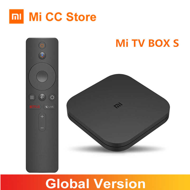 Versão global xiaomi mi caixa s 4k ultra hd android 9.0 hdr 2gb 8gb wifi bt4.2 google elenco netflix caixa de tv inteligente 4 media player