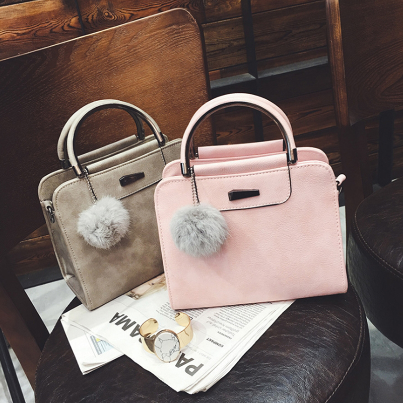 SHUJIN Women Fashion Handle Satchel PU Leather Handbags Purse 2020 New Ladies Small Square Bag Shoulder Bag With Hairball