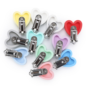 Image 3 - TYRY.HU 10pc/set Heart Love Pacifier Clip Silicone  Baby Teether teething Accessories Clip Non toxic Clasps DIY Bead Tool