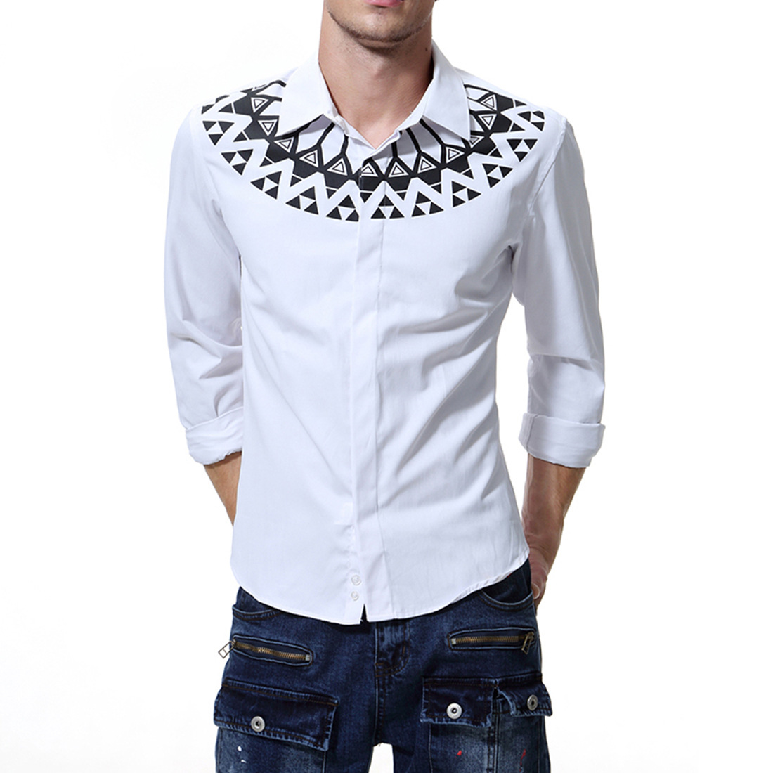 2019 Spring New Style Foreign Trade Large Size Men'S Wear Casual Printed Silky Long-sleeved Shirt Slim Fit MEN'S Shirt D008