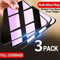 1-3 piezas Anti-Luz Azul de vidrio templado Protector de pantalla para IPhone 12 11 Pro Max película protectora en el Iphone X XS X XR SE 6 6S 7 8 Plus