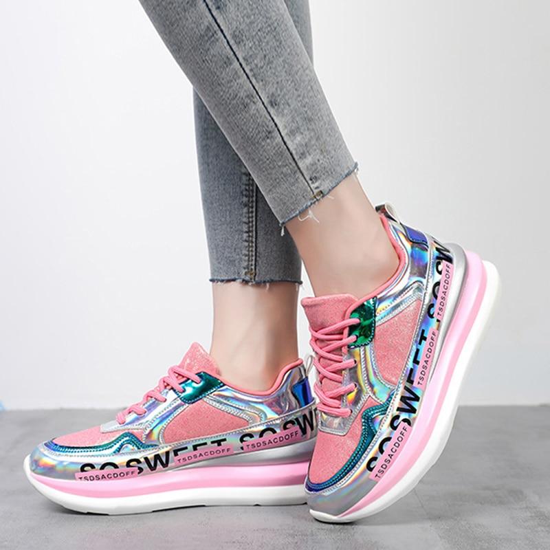 Women Casual Sneakers Platform Basket Femme Dad Shoes Bling Cool Sport Sneakers Gold Yellow Pink Sneakers Women