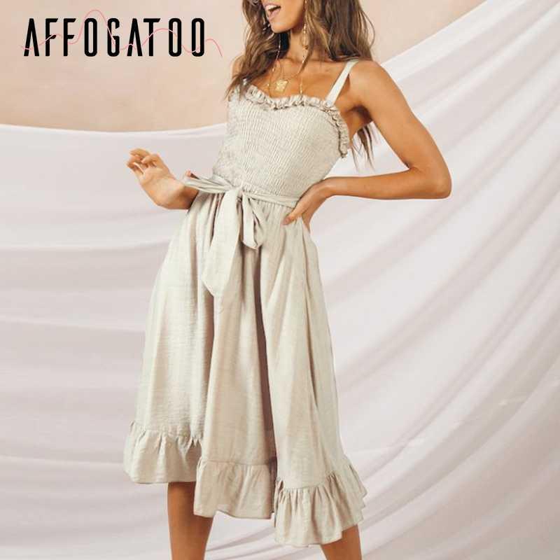 Afogafoo элегантное Плиссированное женское хлопковое платье с оборками без Рукавов Летняя с высокой талией платья повседневное женское платье-миди на бретелях vestidos