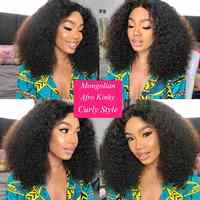 Cheap Black Mongolian Afro Kinky Curly Hair 1 3 4 Bundles Deals  Remy Tissage Bresilien Human Hair Weave Extensions For Braiding