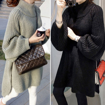 Casual Thicken Long Sweater Dress Korean Autumn Winter Knitted Loose Pullover Tops Long Sleeve Warm Jumpers 2020 elegant knitted sweater dress women korean causal autumn spring hollow out long sleeve loose pullover long dress black