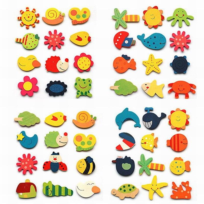 12 шт./партия красочные деревянные животные мультфильм наклейки детские игрушки холодильник магнит для детей детские развивающие игрушки подарок - Цвет: 12pcs
