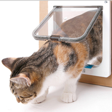 4 Way Lockable Cat Door Security Flap ABS Plastic S/M/L Animal Small Pets Puppy Cats Dogs Gate for Supplies