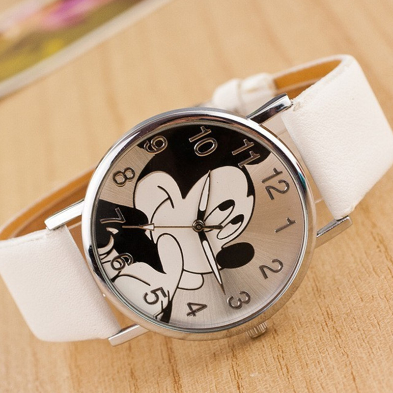 2019 Fashion Mickey Cartoon Watch Bear Minnie Women Watch Boy Cartoon Watches Imitation Leather Unisex Quartz Wristwatch Student
